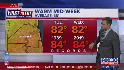 First Alert Weather: Tracking when Jacksonville area nears record-high temperatures