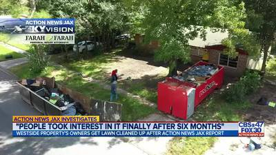 INVESTIGATES: Westside Jacksonville lawn cleaned up after neighbors say trash was there for months