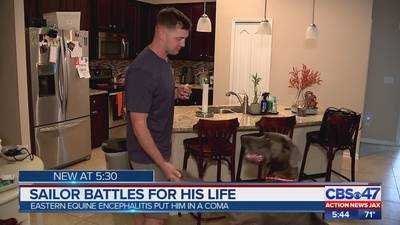 Jacksonville-area sailor battles for his life after Eastern equine encephalitis put him in a coma