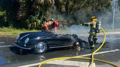 Vintage Porsche bursts into flames on A1A in St. Johns County