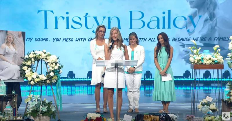 Mothers of Tristyn Bailey's friends speak at the teen's memorial service at Celebration Church in Jacksonville on May 18, 2021.