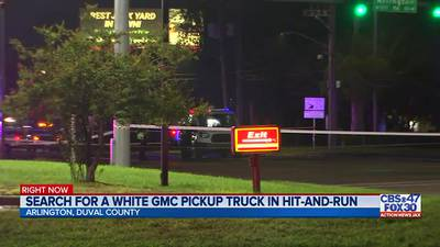 Search for a white GMC pickup truck in hit-and-run