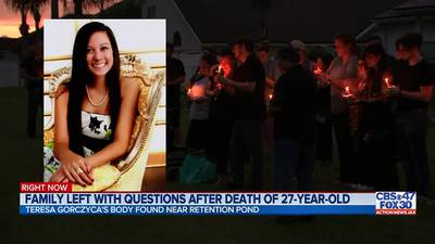 Family and friends hold vigil to honor 27-year-old woman found dead in a Jacksonville pond
