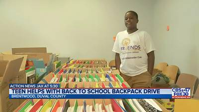 Kids preparing 500+ free backpacks with school supplies at Brentwood Library