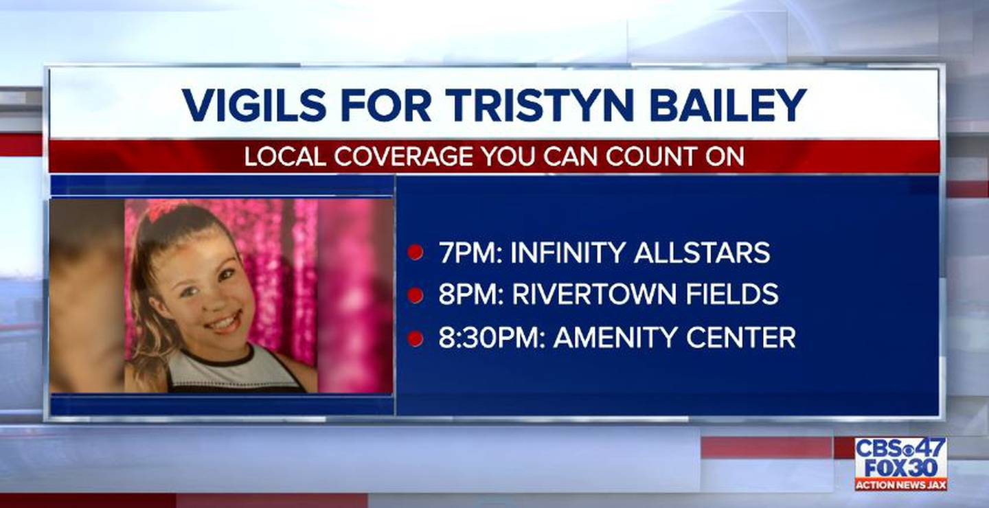 On Monday night, several vigils were set to be held in honor of Tristyn Bailey.