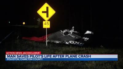 Man saves pilot's life after plane crash in Folkston