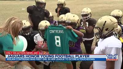 Jacksonville Jaguars give special gift to 11-year-old girl making youth football history