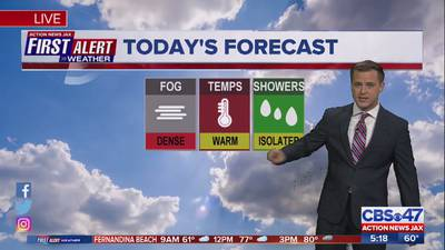 Tracking morning fog Tuesday; Rain possible for Jacksonville area