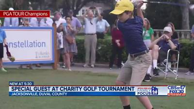 'He is getting to live out some dreams:' Boy who battled hip disease kicks off charity golf event