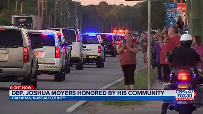 'They are never going to let his name die': Hundreds honor Deputy Moyers in 50-mile procession