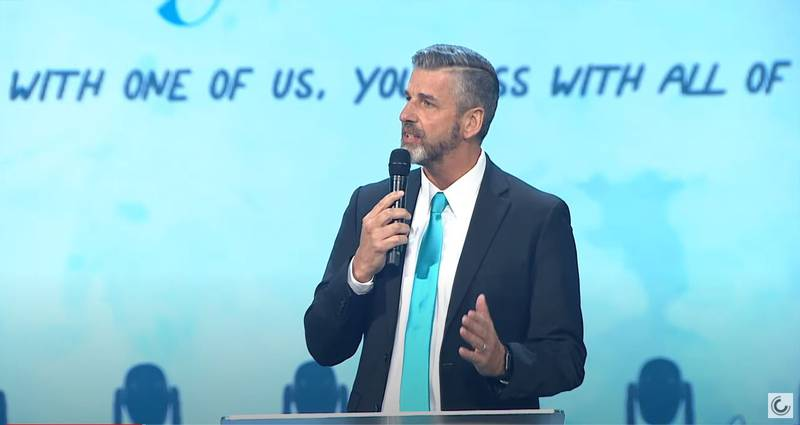 Pastor Bob Neal speaks at Tristyn Bailey's memorial service at Celebration Church in Jacksonville on May 18, 2021.