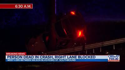 Fatal crash on I-295, right lane blocked