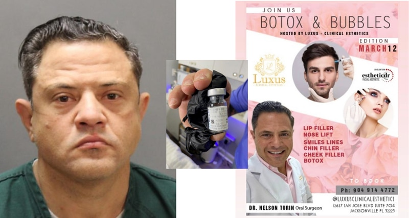 """A man was arrested earlier this month after Jacksonville police say he was injecting people with Botox without a license and drinking Four Lokos while he was doing it. Jacksonville Sheriff's Office Director Mike Bruno said Nelson Amilcar Turin, 47, """"was willing to let his clients take a risk so he could get paid in cash."""""""