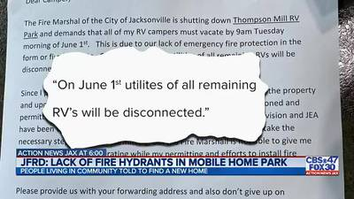 People living in Jacksonville RV park given 6 days to leave