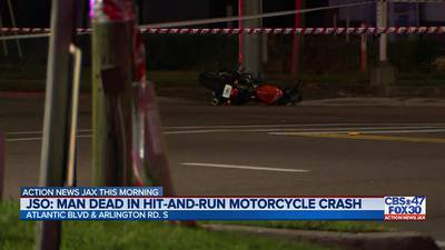 JSO: Man dead in hit and run motorcycle crash